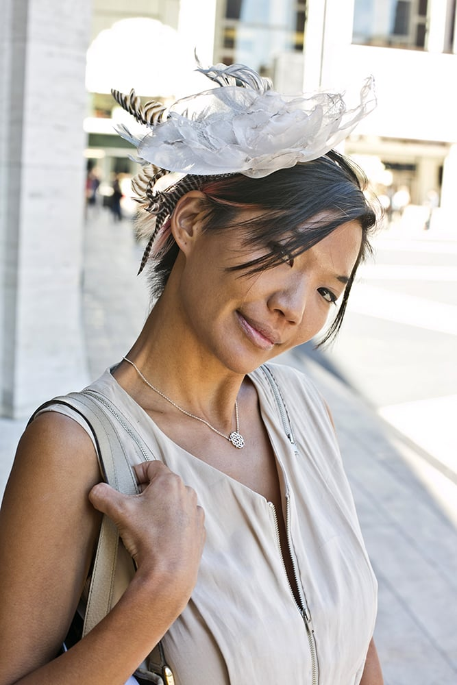 A floral fascinator proved to be wildly appropriate for the Kentucky Derby of fashion. Photo by Caroline Voagen Nelson