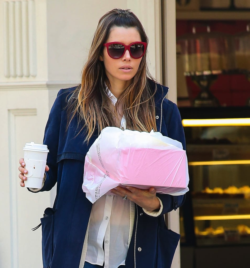 Jessica Biel showed off a pair of red sunglasses while picking up pastries in NYC. Add a little red to your wardrobe via these Marc by Marc Jacobs retro sunglasses ($340).