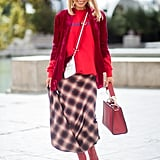 A simple plaid that incorporates a medley of different shades works to break up your look.