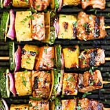 Asian Salmon Kebabs With Pineapple, Red Onion, and Zucchini