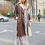 With a Pretty Maxi Dress and a Long Leather Coat