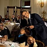 When he posed with a boy who fell asleep at the Father's Day ice cream social at the White House