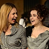 Lily James and Helena Bonham Carter shared a joke as they sported matching gingham outfits at the launch of the Cinderella exhibition in London's Leicester Square on Friday.