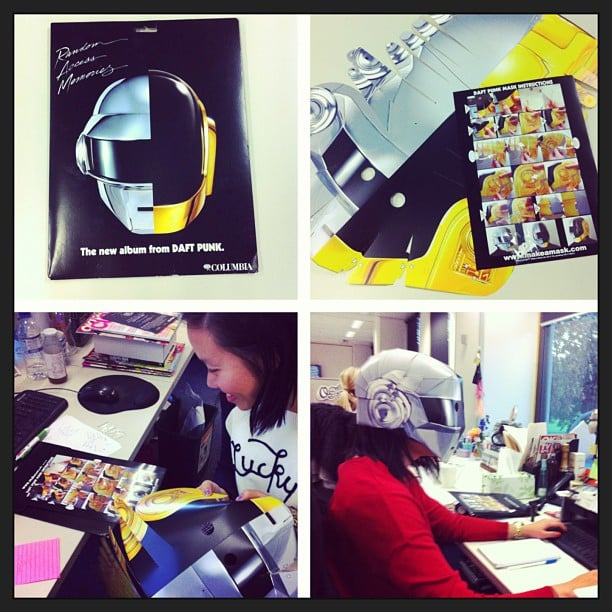 Jess got sent a DIY Daft Punk mask to celebrate the launch of their new album, Random Access Memories. You can guess what she did with the better part of Wednesday afternoon.