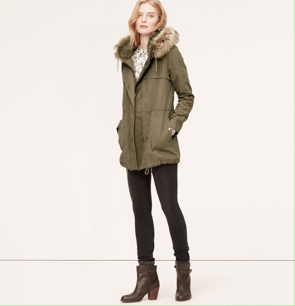 LOFT Faux Fur Trim Hooded Anorak