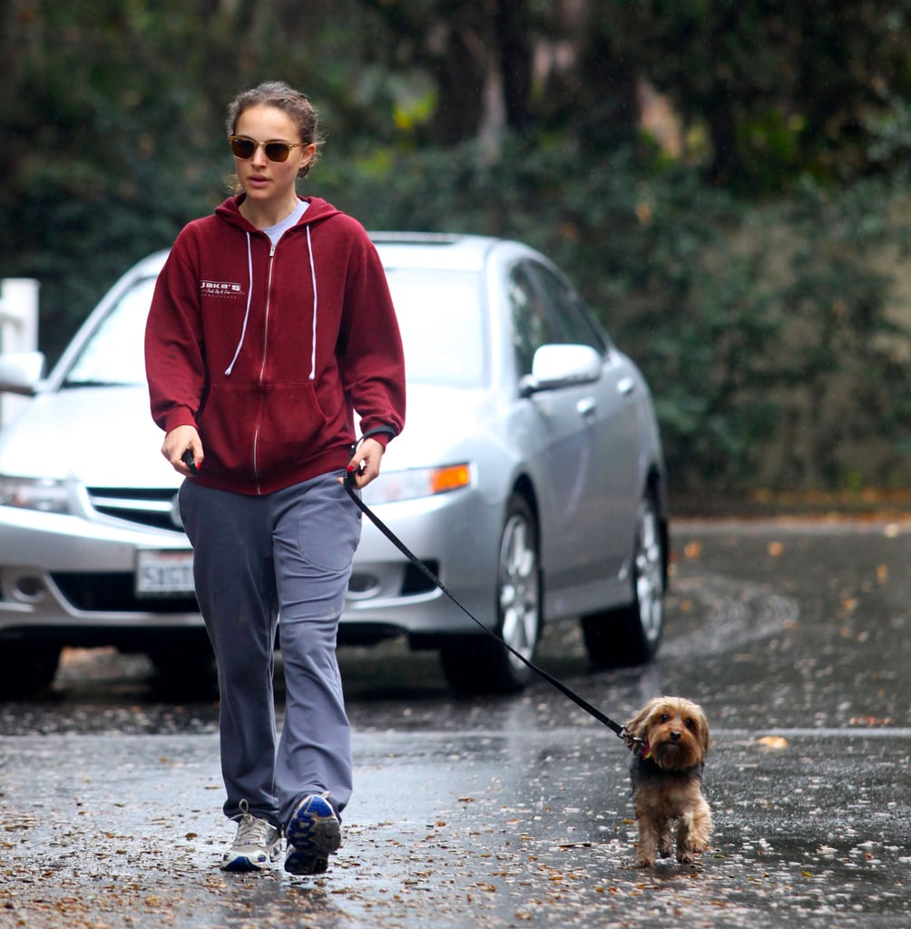 Natalie Portman Walks Her Dog