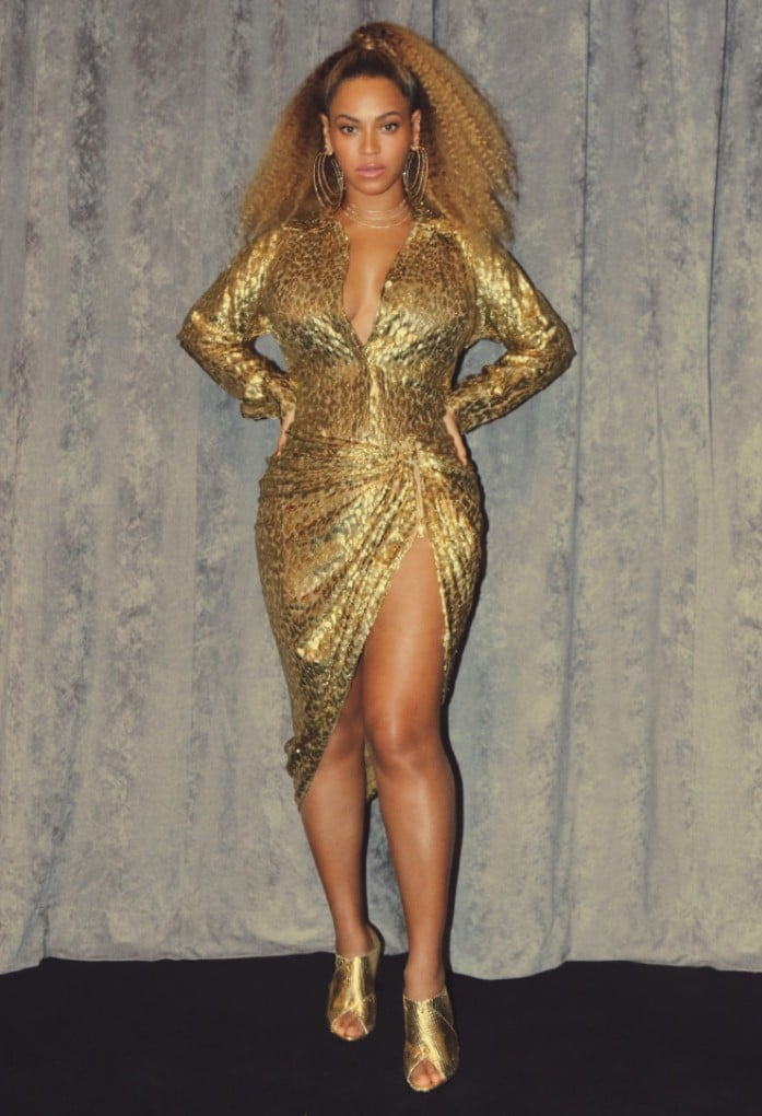 Beyonce Wearing Michael Kors Gold Skirt and Top