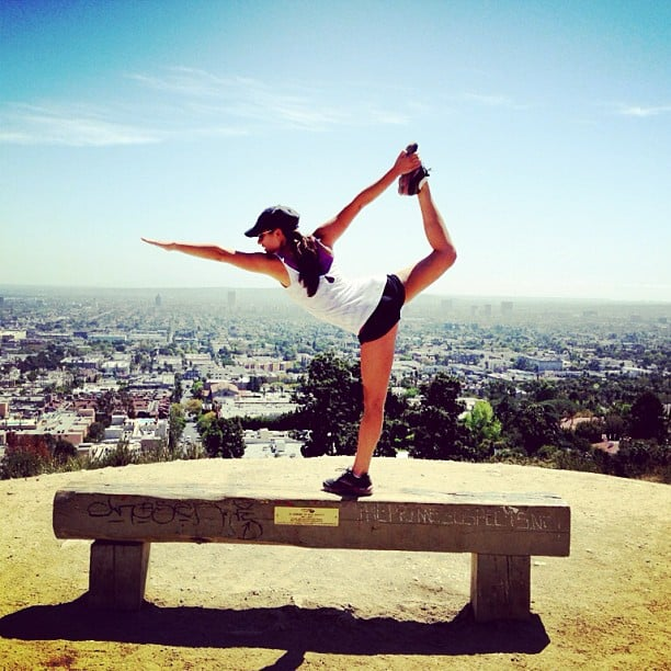 Lea put her yoga moves on display during an afternoon hike in LA in April 2013. Source: Instagram user msleamichele