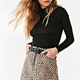 BDG Leopard Denim Zip Mini Skirt