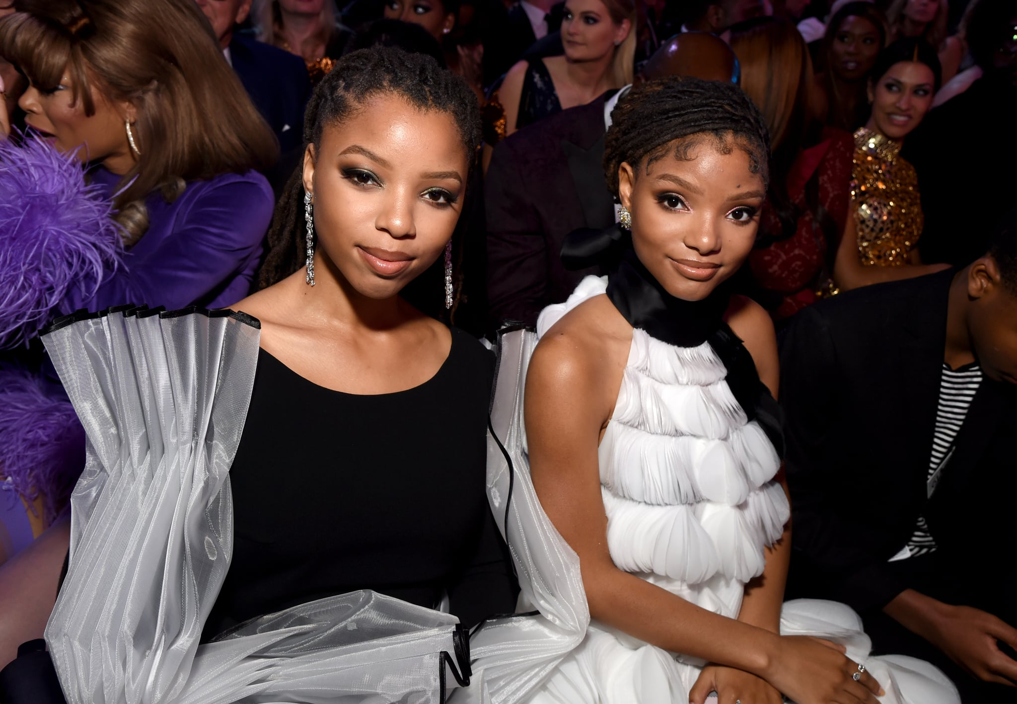 LOS ANGELES, CA - FEBRUARY 10:  Chloe Bailey (L) and Halle Bailey of Chloe x Halle during the 61st Annual GRAMMY Awards at Staples Centre on February 10, 2019 in Los Angeles, California.  (Photo by Michael Kovac/Getty Images for The Recording Academy)