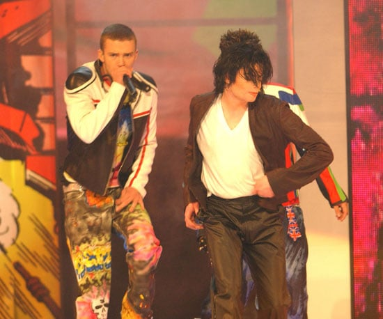 """Michael Jackson surprised the crowd by coming on stage at the end of the 'N Sync performance of their single """"Pop"""" in 2001."""