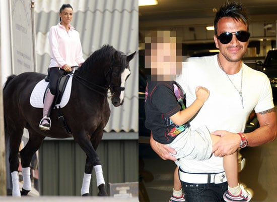 Katie Price on Horseback and Peter Andre Arriving Back in the UK