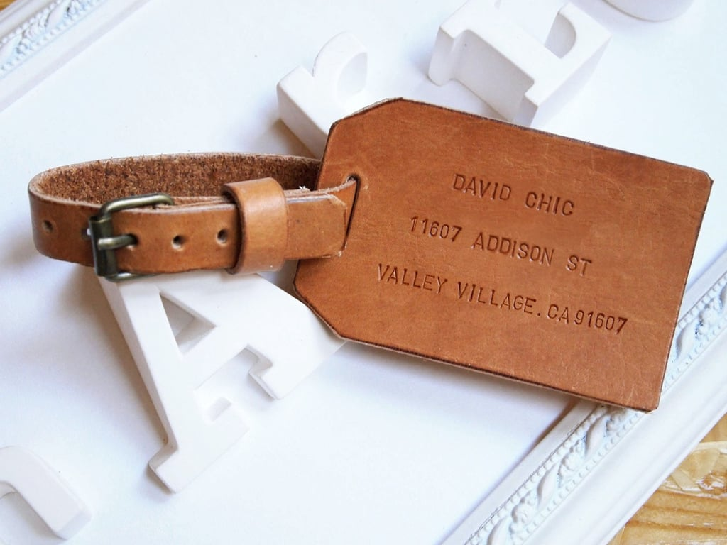 You'll forever be remembered by your wanderlust friend with this chic personalized leather luggage tag ($37).