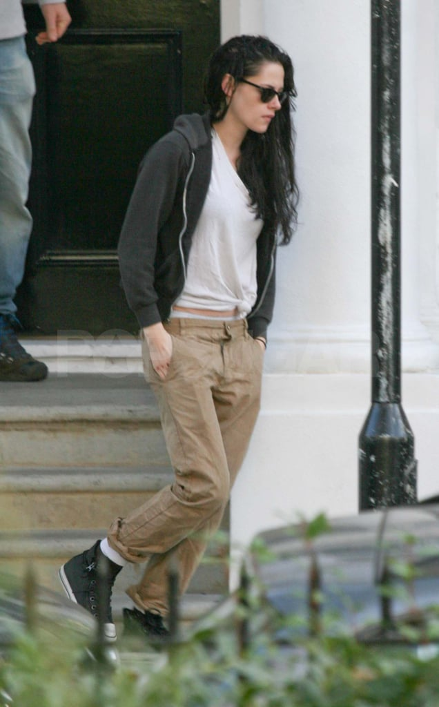 Kristen Stewart walking out of her London apartment.