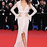 The red carpet might as well have been a runway for Joan Smalls, who worked a plunging pale pink Emilio Pucci lace gown.