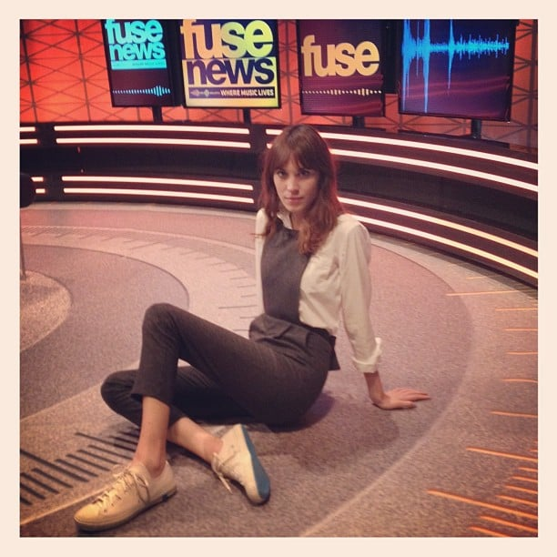 Alexa Chung chilled out on the set of Fuse News. Source: Instagram user chungalexa