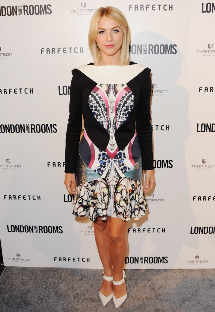 Julianne Hough kept her look smart and sophisticated — she sported this long-sleeved Peter Pilotto dress for a British Fashion Council celebration in April.