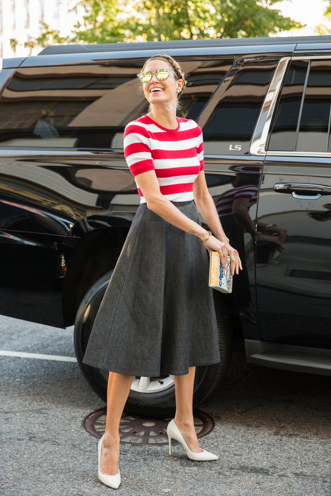 A Striped Tee, an A-Line Skirt, and White Heels