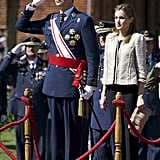 King Felipe VI and Queen Letizia of Spain attended the official Air Force Academy ceremony on Wednesday in Virgen del Camino, Spain.