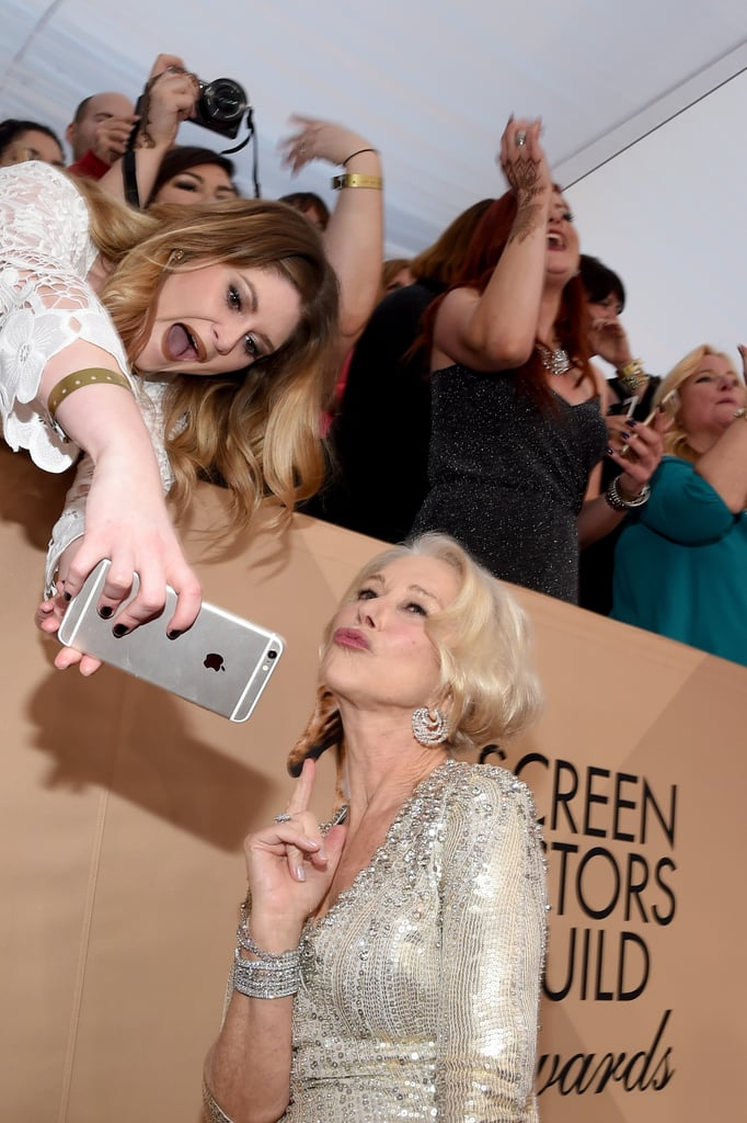 Helen Mirren snapped a selfie with fans on the red carpet in 2016.