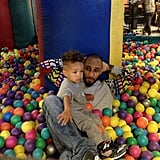 Egypt joined his dad in the ball pit in April 2013.