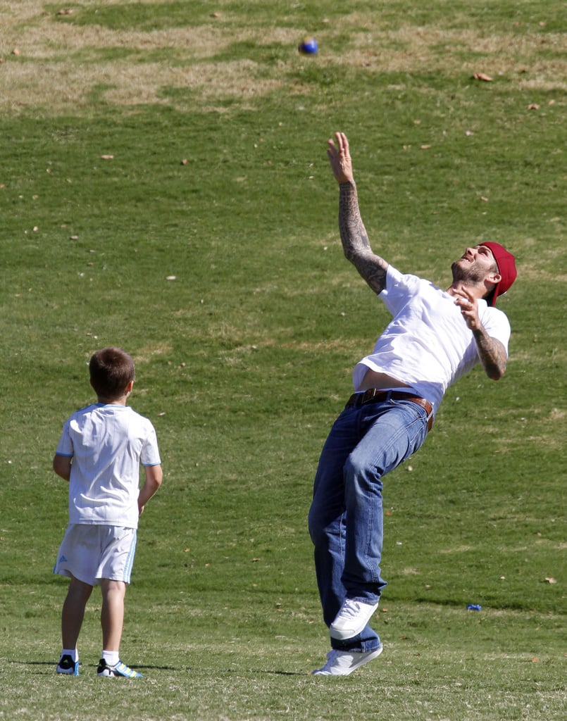 David Beckham showed Cruz Beckham how to bend it.