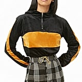 Forever 21 Hooded Velour Colorblock Cropped Sweater