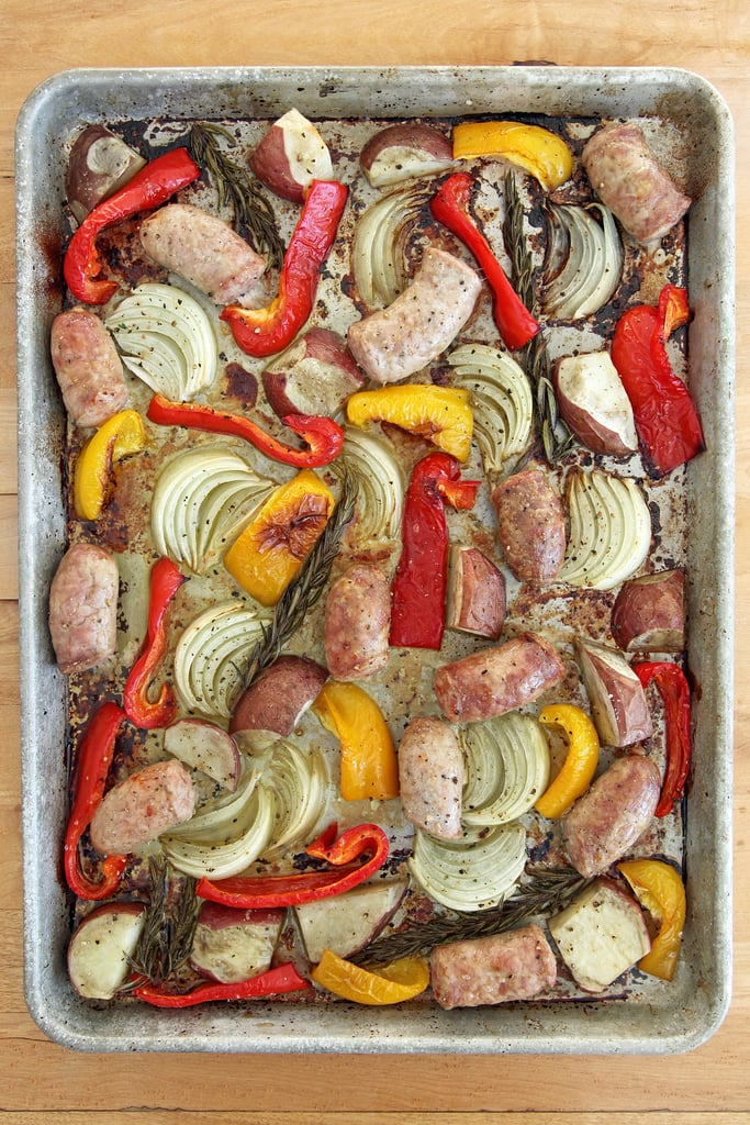 Roasted Italian Sausage, Peppers, Potatoes, and Onion