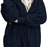 Dokotoo Fuzzy Fleece Open-Front Hooded Cardigan in Navy Blue