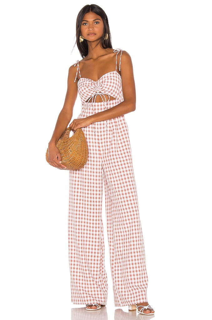 Song of Style Senna Jumpsuit in Taupe Gingham from Revolve.com