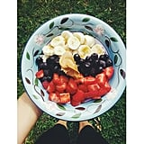 Why not take your oats outside on a Summer day? Here's the classic red, white, and blue combo of berries and banana.