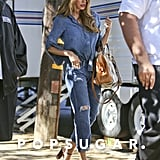 Sofia Vergara donned a diamond on her ring finger during a stroll on the set of Modern Family in LA on Tuesday.