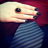 Nick Zano took a close-up shot of his tie and Kat Dennings's cocktail ring.  Source: Instagram user nickzano