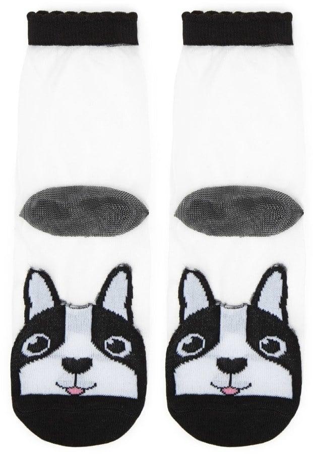 Forever 21 FOREVER 21+ Mesh Dog Graphic Crew Socks