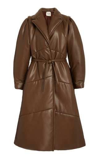 Sea Quilted Belted Vegan Leather Coat