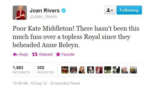 Joan Rivers weighs in on the topless pics of Kate Middleton.