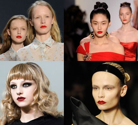 Pucker up baby! If the New York Fashion Week runways are anything to go by, its all about lips for Winter 2010. The shows have been packed with popping red lip shades from bright cherry at  Donna Karan, to deep merlot at Gwen Stefani's L.A.M.B. Even Agyness Deyn has got in on the act, sporting a swipe of deep red for the G Star Presentation. The look is best worn with pale skin and low key eye makeup. Check out the latest catwalk lipstick trend here!
