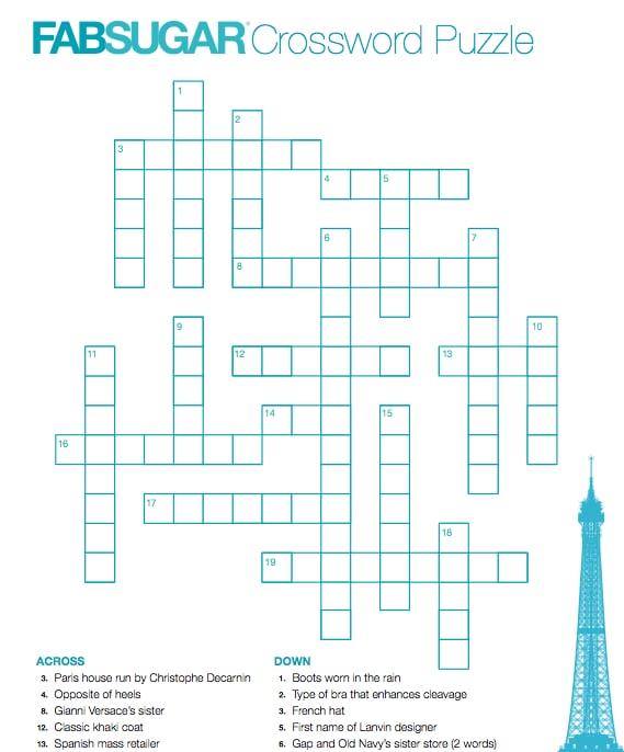 Fabsugar Fashion Crossword Puzzle Popsugar Fashion