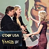 Friends Russell Crowe, Nicole Kidman and Naomi Watts shared a laugh as Naomi accepted her