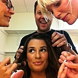 "Lea Michele had a ""village"" helping her get ready.  Source: Twitter user msleamichele"