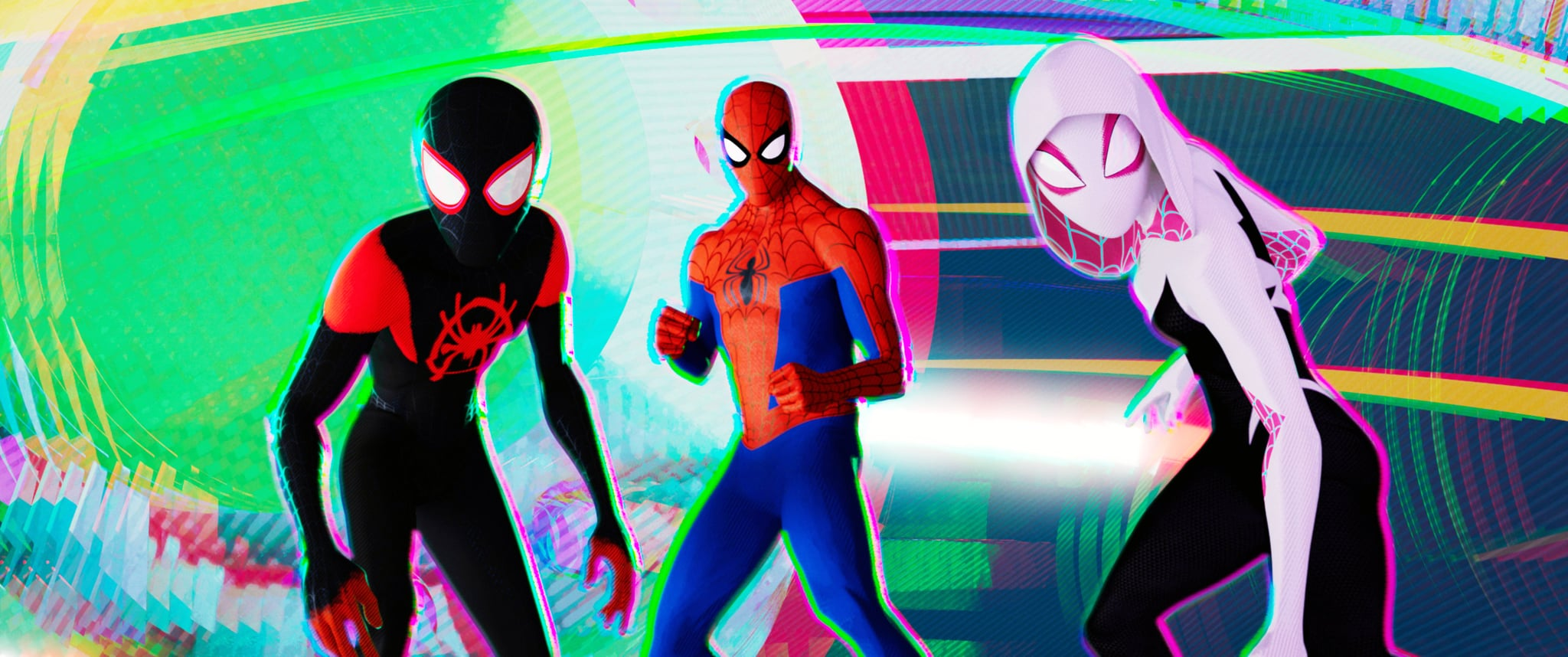 SPIDER-MAN: INTO THE SPIDER-VERSE, from left: Miles Morales (voice: Shameik Moore), Peter Parker (voice: Jake Johnson), Spider-Gwen (voice: Hailee Steinfeld), 2018.  Columbia Pictures / courtesy Everett Collection