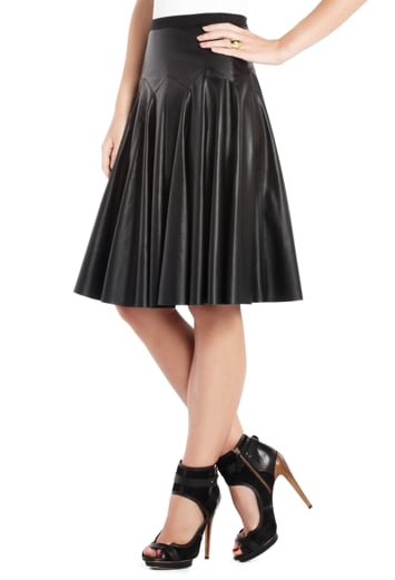Leather gets classy with pleats in this BCBGMAXAZRIA black leather pleated skirt ($248). Dress it up with a silky blouse and down with a simple tee.