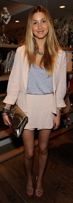 Whitney Port Wears Beige Suit at Elle Magazine Party in New York
