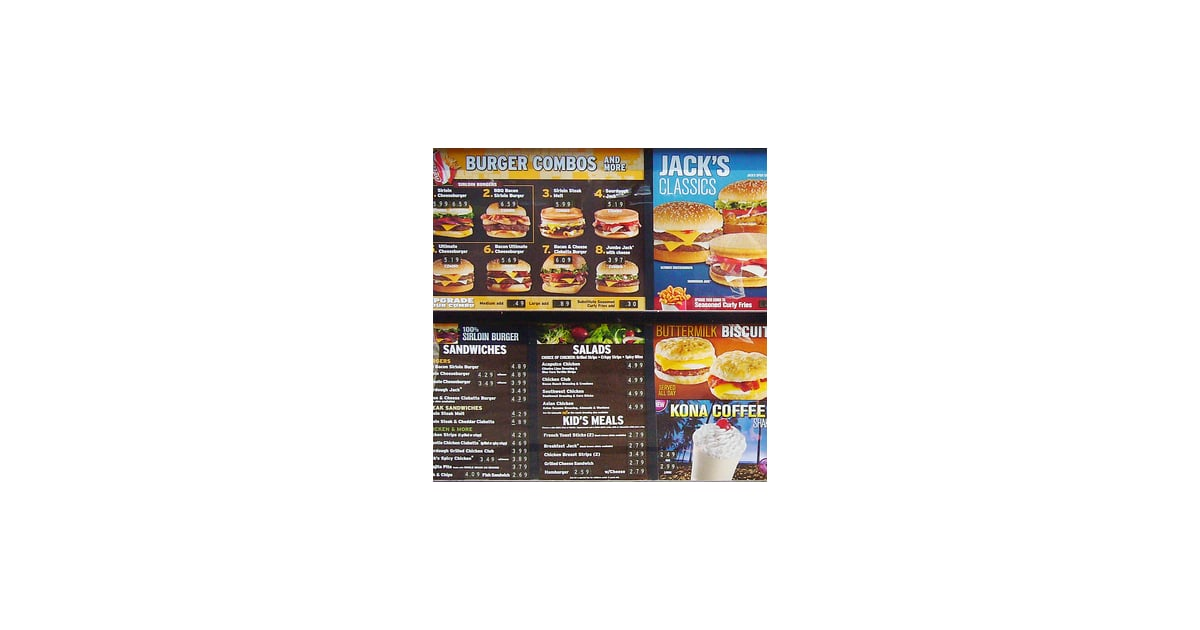 Jack in the Box's menu is comprised mainly of hamburgers, chicken, sandwiches, salads, breakfast items, and desserts.