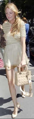 Blake Lively Wearing Gold and Beige Dress and Dior Bag in Paris