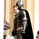 Christian Bale suited up as Batman on set.