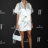 Giovanna Battaglia attended W Magazine's Dance Party in a white-satin, kimono-style dress.