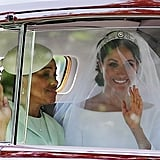 8:50 p.m. (11:50 a.m London, UK time)  Meghan Markle's car, and convoy, arrives at Windsor Castle. They are driving really fast!  Harry and William are seated in the chapel. They've got a 10-minute wait for Meghan's arrival. Harry doesn't look as nervous as we are right now. This is too exciting!! Harry talks to William and smiles at the guests (could be freaking out on the inside, it's hard to tell). Actually, take that back, Harry's definitely nervous/freaking out on the inside . . .    8:53 p.m. (11:53 a.m London, UK time)  The mother-of-the-bride, Doria Ragland arrives. Prince of Wales and the Dutchess of Cornwall arrive. Moments later the Queen (wearing lime green with purple accents) and Prince Philip arrive at the chapel. Inside the chapel, Meghan's mum looks very overwhelmed, we just want to give her big hug!