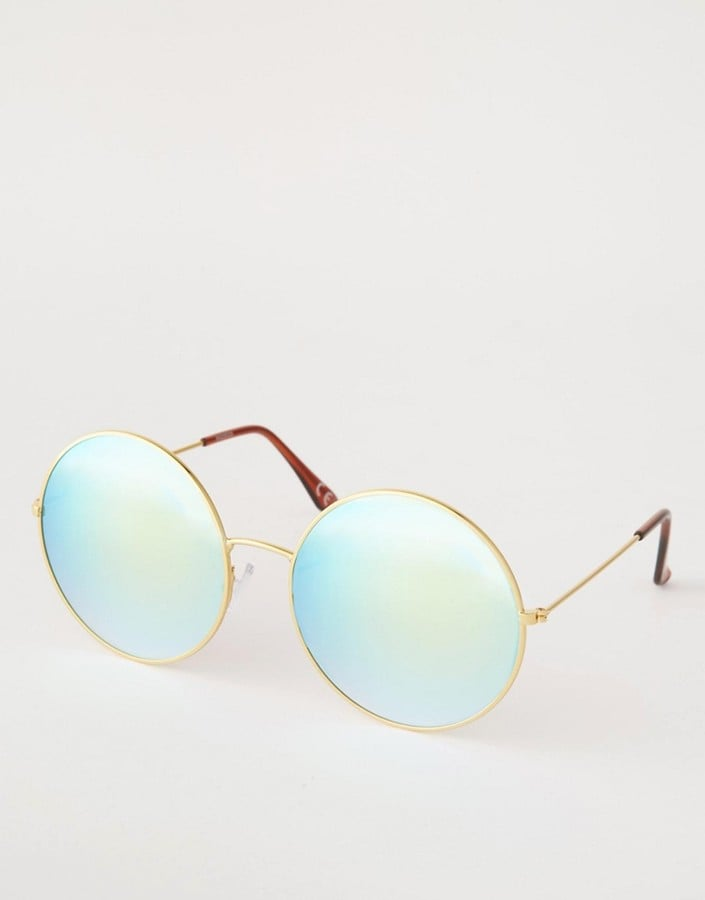 Asos Metal Round Sunglasses With Blue Flash Lens ($23)