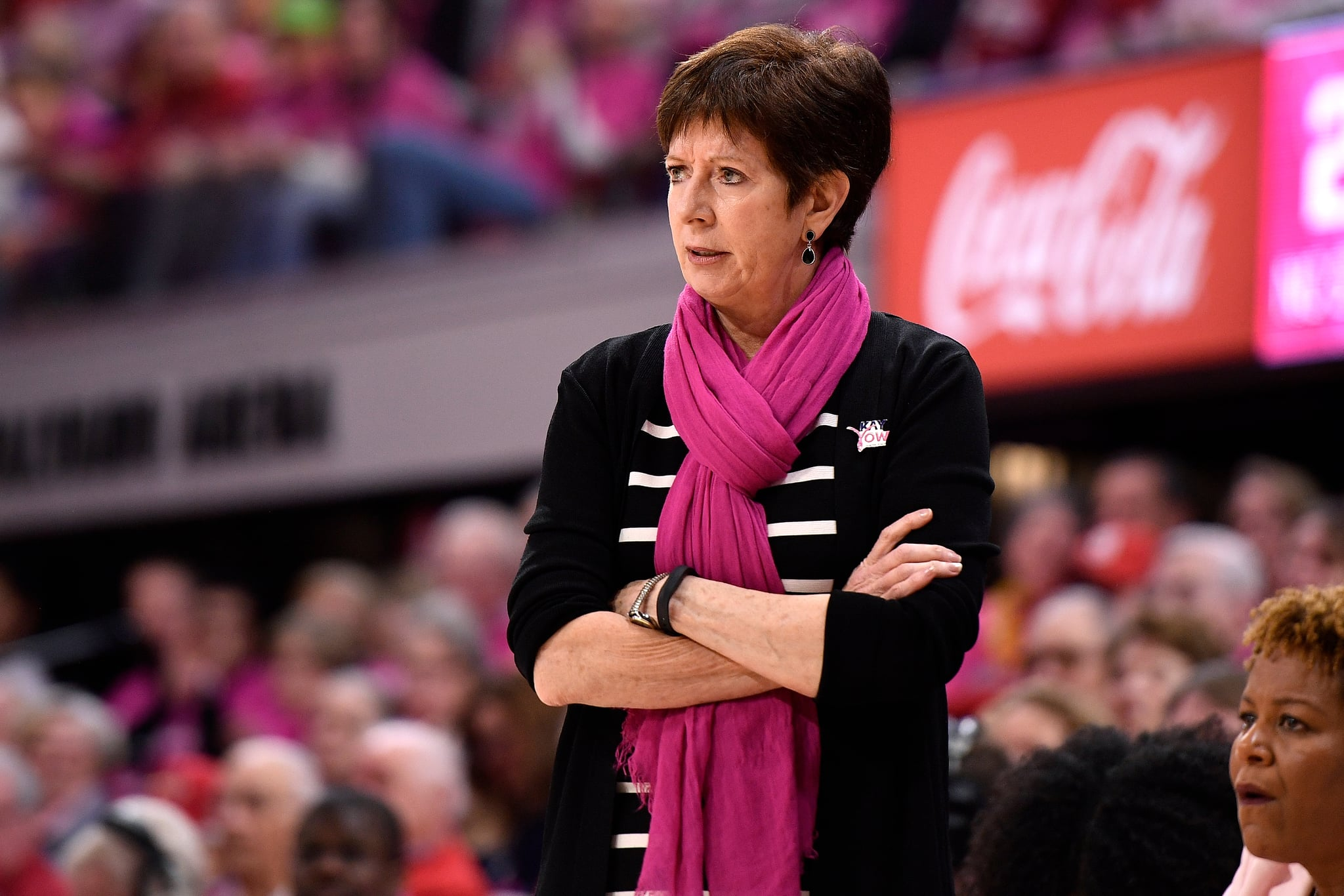 RALEIGH, NC - FEBRUARY 18: Head coach Muffet McGraw of the Notre Dame Fighting Irish looks on during their game against the North Carolina State Wolfpack at Reynolds Coliseum on February 18, 2019 in Raleigh, North Carolina. Notre Dame won 95-72. (Photo by Lance King/Getty Images)